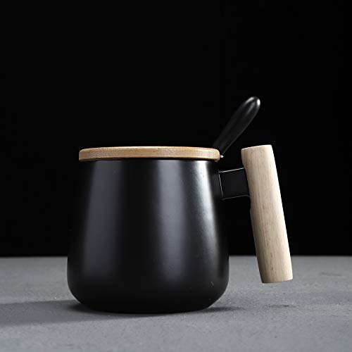 Simple Couple Water Cup Ceramic Cup with Wooden Handle a Pair of Coffee Cup Mug with lid Spoon D
