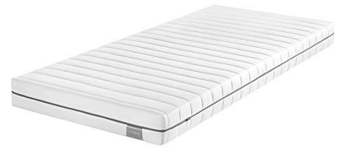 Traumnacht Base Matelas en mousse froide, avec en moyenne 7 zones pour tous les types de sommeil, la dureté 3 (H3), Blanc, 80 x 190 cm