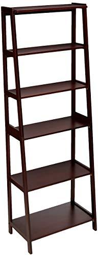AmazonBasics - Libreria aperta a 5 livelli, classica, in legno massello dell'albero della gomma – Espresso
