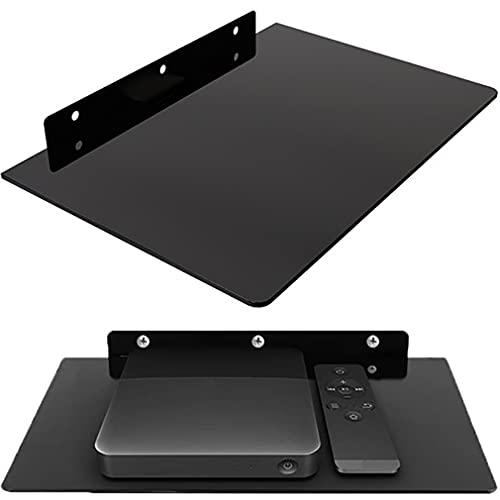 Retoo Multimedia Glasablage bis 10kg Für DVD-Player, DVD, Kabel-Boxen, Spielkonsolen, Blu-Ray Player, Hi-Fi Receiver &TV Zubehör, Glasregal, Wandregal mit Sicherheitsglas, Universal-Regal, Schwarz