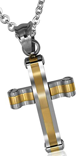 ANAZOZ roestvrij stalen halsketting dames ketting hanger glossy stijl kruis goud