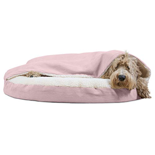 Furhaven Pet Dog Bed - Orthopedic Round Cuddle Nest Faux Sheepskin Snuggery Blanket Burrow Pet Bed with Removable Cover for Dogs and Cats, Pink, 35-Inch