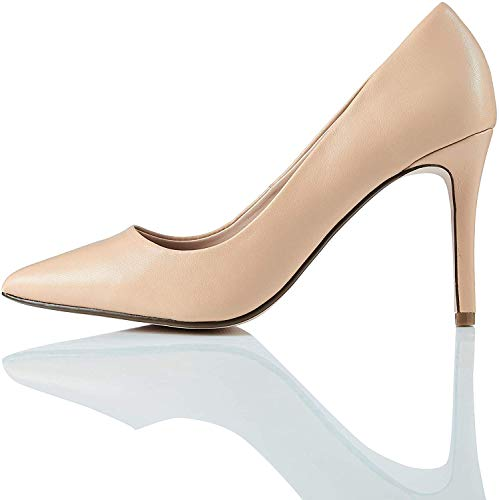 find. Point High Heel Leather Court Zapatos de Tacón, Beige, 37 EU