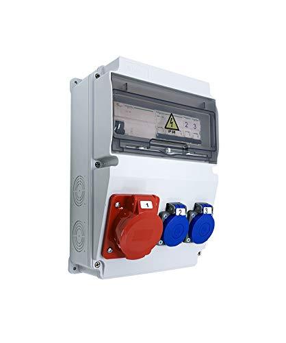 Caja de obras monofásica/trifásica equipada con ASTAT 296 Plus, IP65 1x16A/5P, 2x230V SCHUKO IP44, disyuntores Schneider