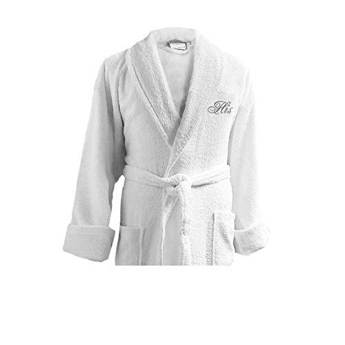 Luxor Linens - Terry Cloth Bathrobes - 100% Egyptian Cotton- Luxurious, Soft, Plush Durable Set of Robes (White - His, 1 pc, His)