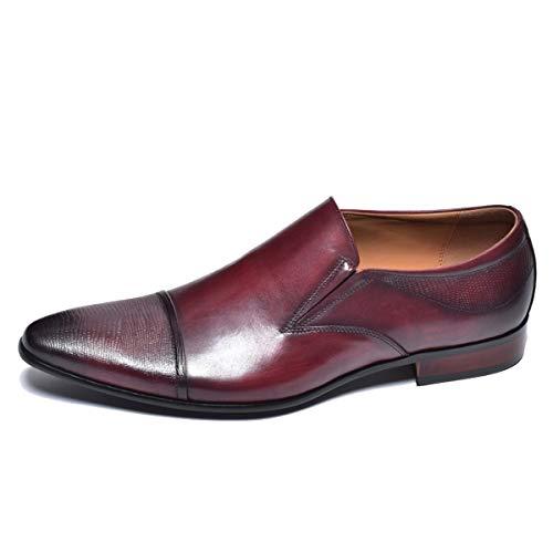 [ルシウス] ビジネスシューズ メンズ 本革 スリッポン ローファー おしゃれ サイドゴア レザー 革靴 ワイン 27.0cm