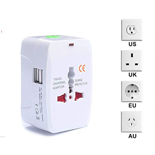 MOCHEN International Travel Converter, all-in-one USB-lader met 2 USB-poorten netstekker 110-250 V universeel stopcontact/stopcontact voor wereldwijd reizen in de EU, UK, USA, Australië
