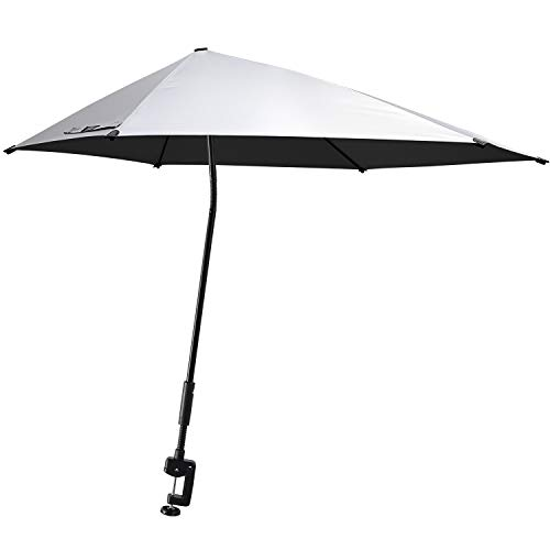 G4Free UPF 50+ Adjustable Beach Umbrella XL with Universal Clamp for Chair, Golf Cart, Stroller, Bleacher, Patio (Silver/Black)