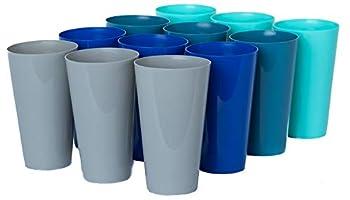 Klickpick Home Set Of 12 Unbreakable Plastic Tumblers 20 Ounce Capacity Premium Quality Plastic Beverage Tumblers Reusable Cups Dishwasher Safe BPAFree In 4 Coastal Colors