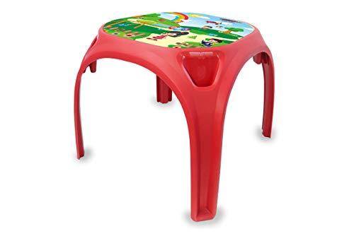 Jamara 460751 Kindertisch Zahlenspass XL-aus robustem Kunststoff, Indoor-Outdoor geeignet, Aufdruck auf der Tischplatte, abgerundete Kanten, rutschfeste Gummifüße, rot