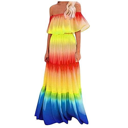 YANFANG Vestido Maxi Escalonado con Hombros Descubiertos Y ArcoíRis De Moda para Mujermini Vestidos Verano Cortos Playa Boho Ropa Recto Estampado Tendencia Superior Delgada,Amarillo,XL