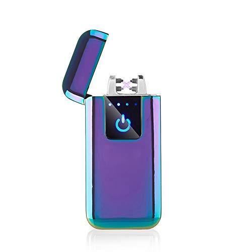 FLFIRAMER Double Arc Plasma USB Lighter Rechargeable Windproof Flameless Electric Lighter (Purple)