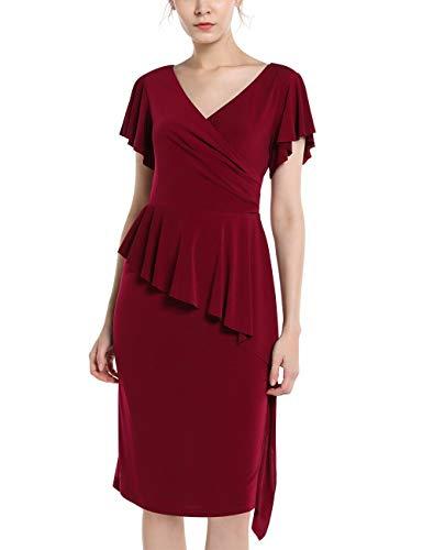 APART Fashion Damen Jersey Dress Cocktailkleid, Bordeaux, 36