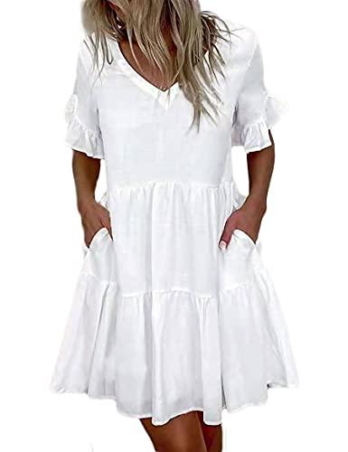 WXDSNH Damen Kurzes Kleid Blumendruck Rüschentaschen Damen Sommerkleider Weibliche Boho Strand Sommerkleid Robe