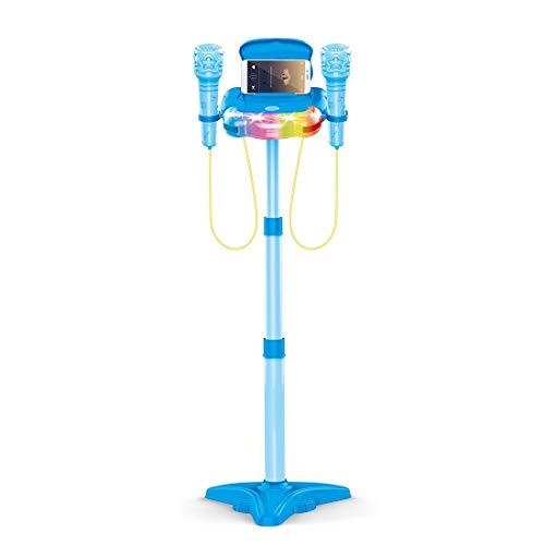 DSXX Micrófono Karaoke Infantil, Dual Micrófono de Pie con Efectos de Iluminación, Juguete Educativo para Niños Mayores de 2 Años