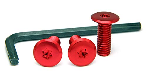 ナンバープレート用ボルト フラットタイプ アルミ(レッド) 3本&工具セット M6×16