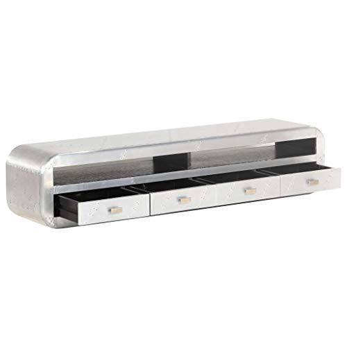 Festnight Meuble TV en Bois Aluminium TV Cabinet Meuble de télévision avec 4 tiroir 140 x 30 x 30 cm