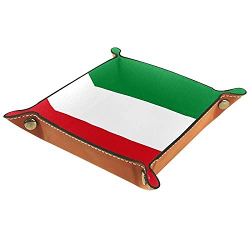 LynnsGraceland Tablett Leder,Italienische Flagge,Leder Münzen Tablettschlüssel für Schmuck,Telefon,Uhren,Süßigkeiten,Catchall-Tablett für Männer & Frauen Großes Geschenk