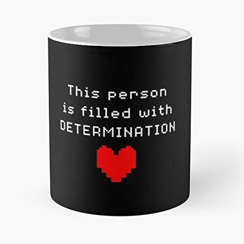 Fills Letters Determination You with White Undertale It Heart Taza de café con Leche 11 oz