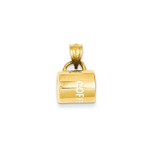 Diamond2Deal Damen Anhänger Kaffeetasse 14 Karat Gelbgold emailliert