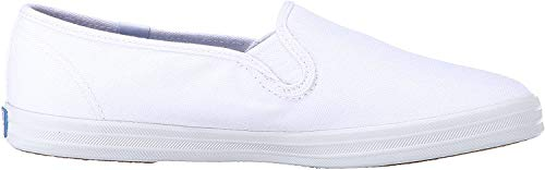 Keds Women's Champion Canvas Slip-On Sneaker, White, 5 Wide