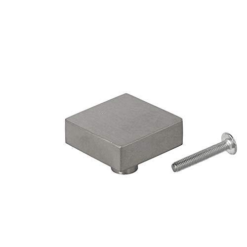 Massiv Edelstahl Möbelknopf Möbelgriff matt gebürstet 32x32mm Schrankknopf Schubladenknopf quadratisch Möbelbeschlag