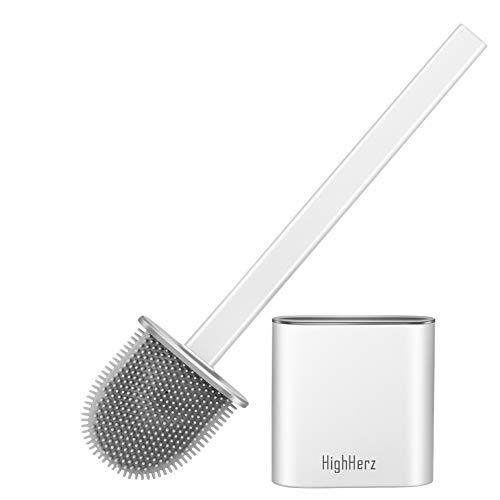 HighHerz Toilettenbürste mit Halter Set Mit TPR-Bürste, Upgrade | New Model | Unten Nicht Offen!