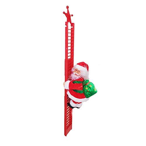UMYMAYDO1 Weihnachtsmann Elektrische kletternde Leiter Santa Crawl Auf Leiter Kletternder Santa Claus Figurine Plüsch Puppe für Xmas Party Weihnachtsbaum Dekoration (Single-Leiter)
