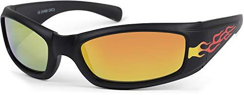 styleBREAKER Kinder Sport Sonnenbrille mit Flammen Print, Kunststoff Rahmen und Polycarbonat Gläser, Vollrand 09020089, Farbe:Gestell Schwarz/Glas Gelb verspiegelt