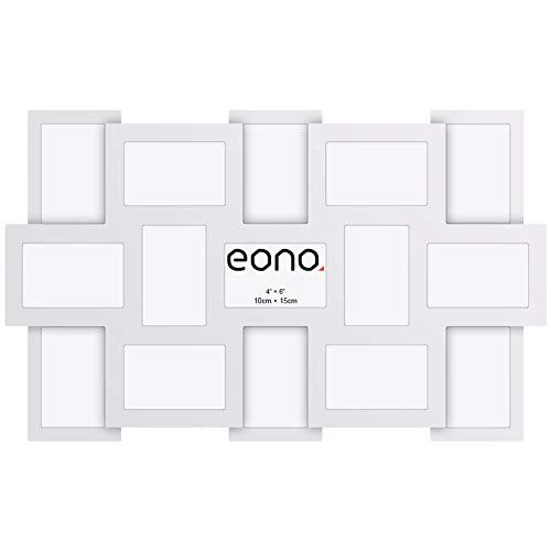 Eono by Amazon - Marco multifoto para Pared con Cristal de Alta Definición para un Collage de 15 imágenes de 10x15 cm Blanco
