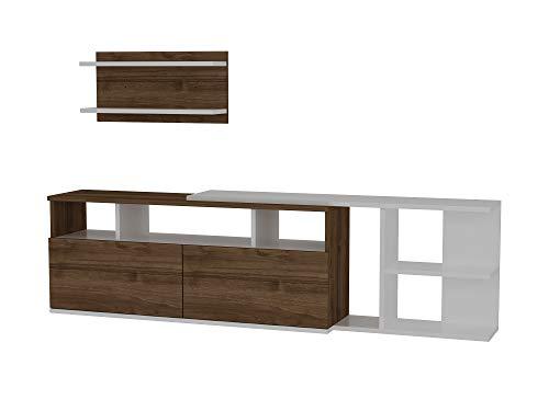 Alphamoebel 2831 Beste Wohnwand TV Board Lowboard Fernsehtisch Anbauwand Sideboard Fernseh Hängeschrank Tisch für Wohnzimmer, Holz, Weiß Walnuss, Regal, 180 x 25 x 48,6 cm