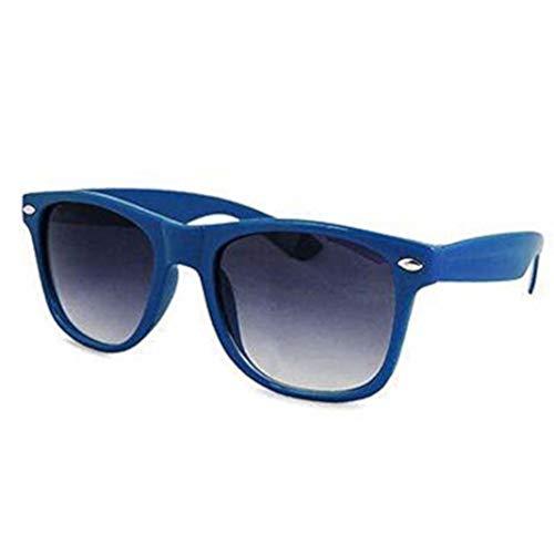 Gafas de sol clásicas para hombre y mujer, estilo retro aviador UV400 (montura azul marino y lentes negras)