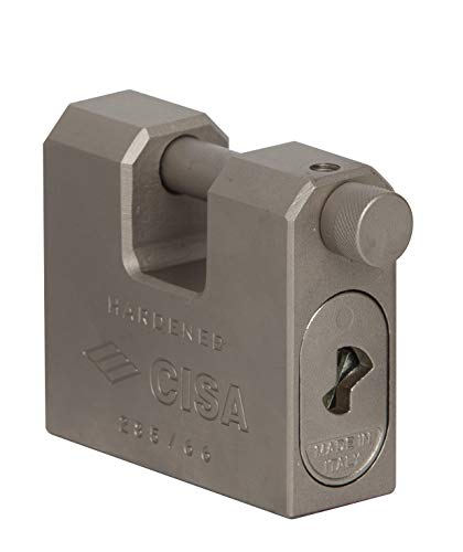 CISA 28550840 Lucchetto rettangolare monoblocco acciaio, Acciaio, 84 mm