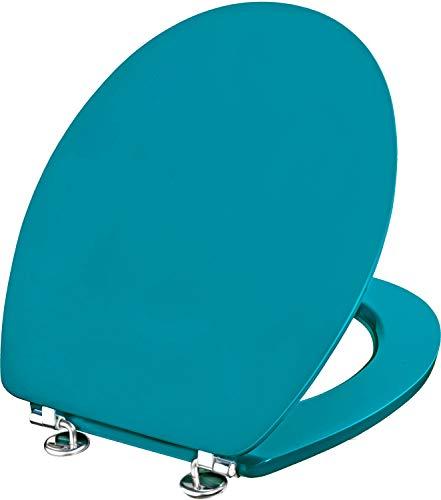Cornat WC-Sitz Telo - Schlichter Look in türkis - Hochwertiger Holzkern - Komfortables Sitzgefühl - Unifarbenes Design passt in jedes Badezimmer / Toilettensitz / Klodeckel / KSTEL77