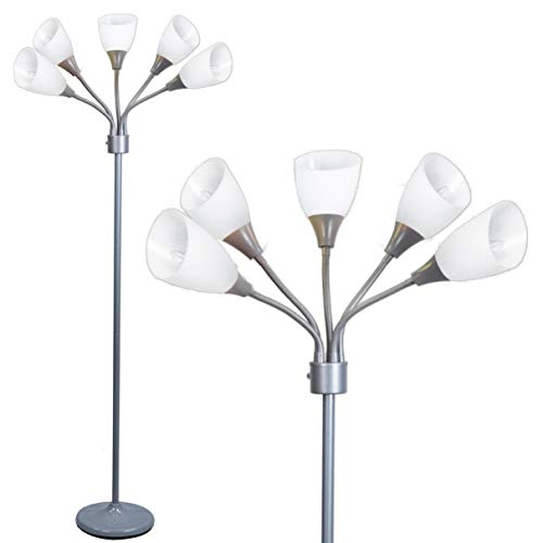 Modern Floor Lamp Room Light by Lightaccents - Medusa Multi Head Standing Lamp Bedroom Light with 5 Adjustable White Acrylic Reading Shades Room Light (Silver)