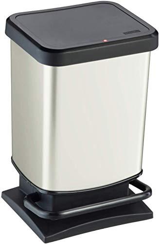 Rotho Paso Mülleimer 20l mit Pedal und Deckel, Kunststoff (PP) BPA-frei, weiss metallic, 20l (29,3 x 26,6 x 45,7 cm)