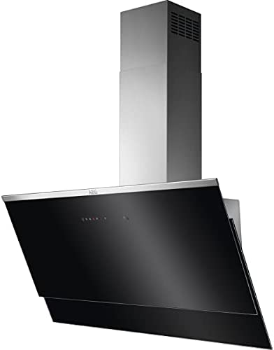 AEG DVE5971HG Campana Extractora Decorativa, Diseño Vertical, 90 cm, 3 velocidades + intensivo, Potencia Hasta 700 m3/h, Función Brisa, Nivel de ruido de 54 dB(A), Luces LED, Cristal, Negro, Clase A