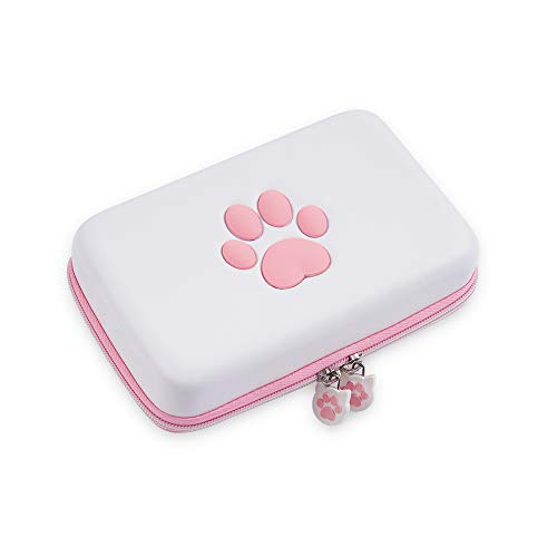 GeekShare Cute Cat Paw Travel Carrying Case Compatible with Nintendo Switch Hard Shell Portable Storage Bag for Switch Console Controller & Game Accessories, with Removable Shoulder Strap