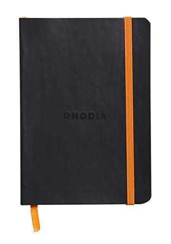 RHODIA 117302C - Carnet Souple Noir - A6 - Ligné - 144 pages - Papier Clairefontaine Ivoire 90 g/m² - Marque-Page, Fermeture Élastique - Couverture Simili Cuir - Collection Rhodiarama