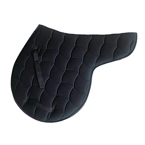 Hmpet Mantilla de Caballo Almohadilla de sillín británica Transpirable Acolchada de algodón Que Absorbe el Sudor, Almohadilla para Montar a Caballo, Lavable a máquina,Negro