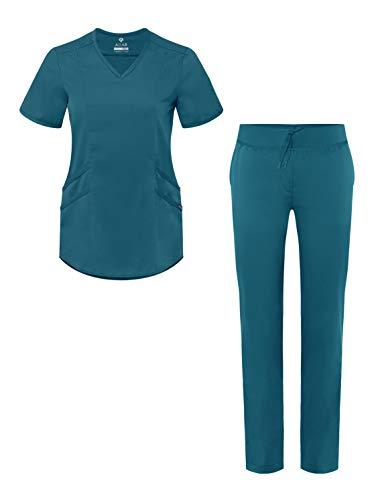 Adar PRO Uniforme Medico Donna - Top Moderno Scollo V & Pantaloni Yoga Adattati - P9100 - Caribbean Blue - XS
