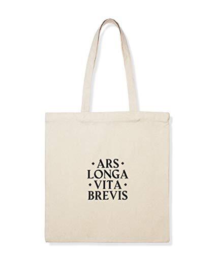 AR - Ars Longa Vita Brevis Tote Bag color natural de algodón con bordado, bolso de hombro resistente