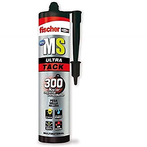 Fischer 552137 sellador de Juntas instantáneo MS Ultra Tack (Cartucho 290 ml) Blanco, a Base de SMP, polímero Mono