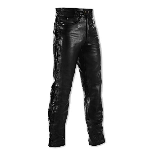 A-pro Mens Motorcycle Motorbike Biker Leather Pantalones vaqueros Laces Cruiser Black 36