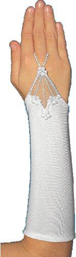 Schicke fingerlose Kommunionhandschuhe Handschuhe zur Kommunion, Spitze, Glitzer, Strass, Mädchen KA-101