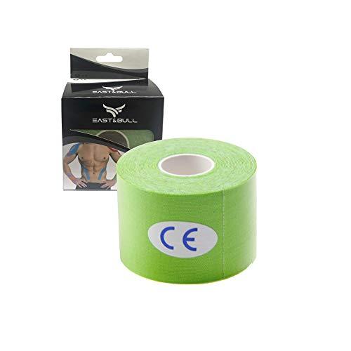 East&Bull - Nastro kinesiologico, 5 cm x 5 m, Verde, 5cm x 5m