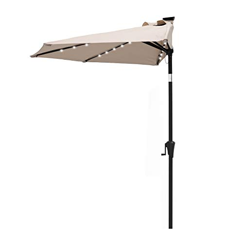 C-Hopetree 9 ft Half Outdoor Patio Market Umbrella with Solar LED Lights and Tilt - Beige