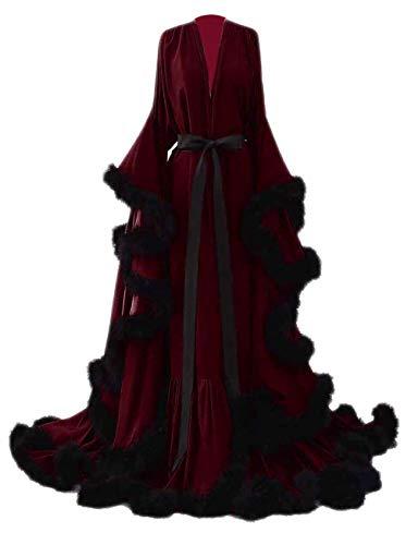 yinyyinhs Feather Bridal Robe Wedding Scarf Long Lingerie Robe Nightgown Bathrobe Sleepwear Burgundy-Black Size L/XL