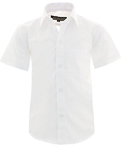 GILLSONZ A0 vDa New Kinder Party Hemd Freizeit Hemd bügelleicht Kurz ARM mit 15 Farben Gr.86-170 (164/170, Weiß)