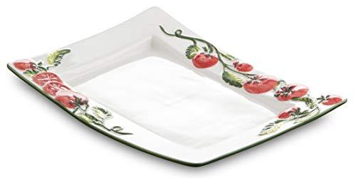 Bassano Ausgefallene italienische Keramik, rechteckige Tomaten Caprese Servierplatte 33x24